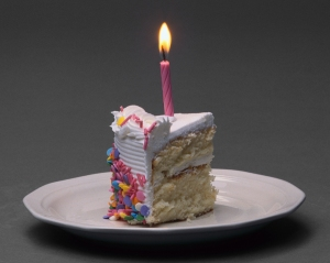 Birthday cake with lit candle