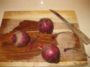 Preparing beets for Ensalada Rusa or Russian Salad