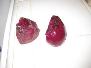 Peeling a cooked beet