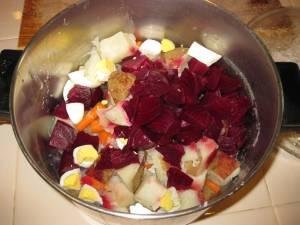 Ensalada Rusa or Russian Salad, before adding mayonnaise