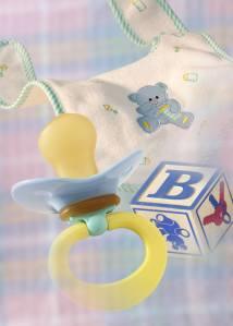 Baby bib, block, pacifier
