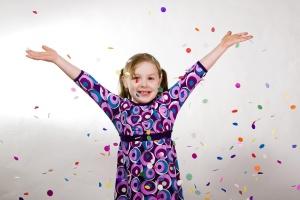 BIrthday Girl Throwing Confetti