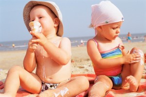 Kids on Beach with Ice Cream