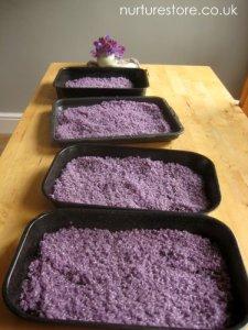 NurtureStore - Lavender Sensory Bin - Quiet Time Roundup on Alldonemonkey.com
